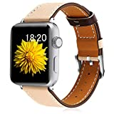 KOLEK Leather Bands 44mm/42mm Compatible with Apple Watch, Leather Band for Women/Men Compatible with Apple Watch Series 4/3/2/1, Beige