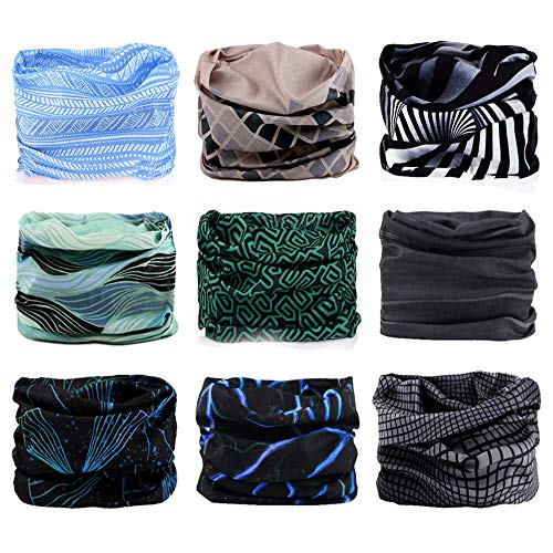 Godspeed Headwear, Headwrap 9-Pack Headband & Bandanna 16-in-1 Multifunctional Telescopic Seamless Scarf Facemask For Outdoor Leisure Activities