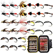 Outdoor Fishing Flies for Fly Fishing, Dry/Wet Fly Fishing Lures, Fly Fishing Gear for Bass, Trout, Salmon wit