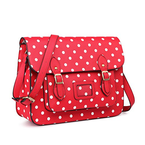 Miss Lulu Pu Leather Large Cambridge Stlye Satchel Bag (RED)