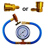 AIMERKUP Car Auto Air Conditioning Refrigerant Recharge Measuring Hose Gauge Kit Refrigerant Addition Tube for Home and Car 1/4SAE R134A R22 Premium
