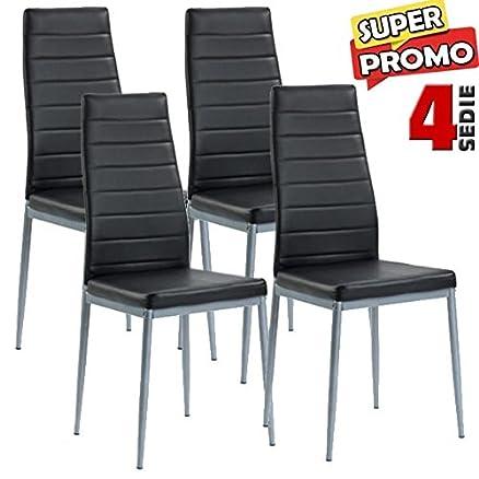 Best bakaji set sedie moderne sala da pranzo salotto for Sedie nere moderne