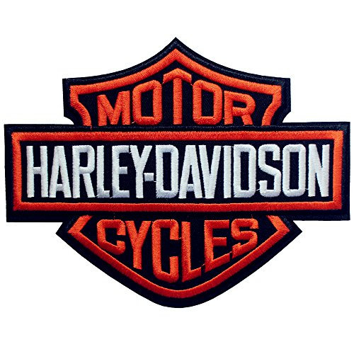 Harley Davidson Patch Orange Bar & Shield XL 7.28 x 5.59 Sew on or Iron on Embroidered DIY Applique Badge Decorative