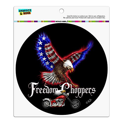 Graphics and More Freedom Choppers Motorcycle Patriotic American Flag Eagle Bike Automotive Car Refrigerator Locker Vinyl Circle Magnet ()