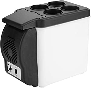 Portable Car Refrigerator Freezer, 6L Cooler Refrigerator Mini 12V Fridge Home Electric Cooler and Warmer Box Refrigeration and Heating for Travel Camping BBQs Tailgating Outdoor Activities