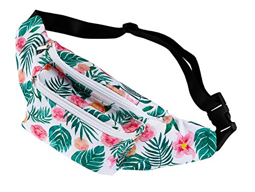Floral Print Beach Bag - Women's Fanny Pack - Floral Waist Bag, Waterproof Bum Bag for Festival, Hiking, and Party