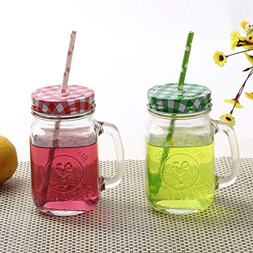 Dekeanshka Glass Mason jar with Straw and Lid – 500ml, 2 Pc, Transparent, Clear