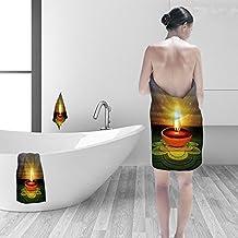 "Nalahomeqq Bath towel set Happy diwali beautiful diya rangoli colorful hindu festival design 3D Digital Printing No Chemical OdorEco-Friendly Non Toxic13.8 x 13.8-11.8""x27.6""-27.6""x55.2"""
