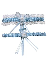 WoodBury Wedding Garter Set Prom Bridal Gift Garter Set Lace Blue