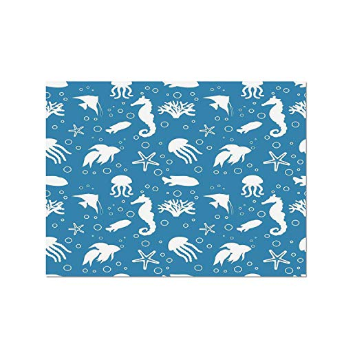 C COABALLA Animal Decor Heat Resistant Table Mat,Mix of Seahorses Pipefishes and Others Swimming Dive Deep Zone Summer for Dining,15.7