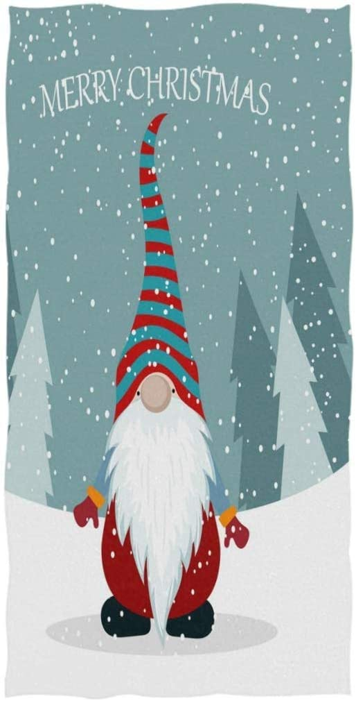 REFFW Guest Multipurpose Soft Large Highly Absorbent Cute Gnome Christmas Pine Tree Snow Santa Bath Towels Hand Decorative Sweet for Bathroom Home Hotel Gym Spa
