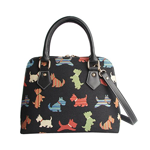 Signare Tapestry Handbag Satchel Bag Shoulder bag and Crossbody Bag and Purse for women with Playful Puppy Design (CONV…