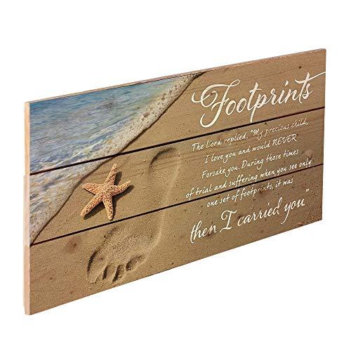 "P. Graham Dunn 20″ x 10.5″ Wood Pallet Wall Art ""Footprints in the Sand"""