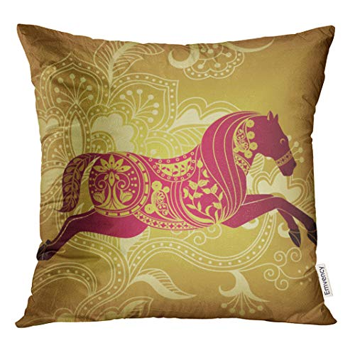 (Semtmon Throw Pillow Cover Gold Floral Abstract Horse Scroll Animal Beautiful Branch Cherry Ployester Home Print for Living Room Bedroom Sofa Chair 16 X 16 Inches with Invisible Zipper)
