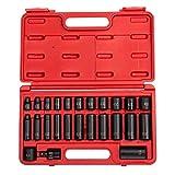 "Sunex 3325, 3/8 Inch Drive Master Impact Socket Set, 25-Piece, SAE, 5/16''-1"", Standard/Deep, Cr-Mo Steel, Radius Corner Design, Heavy Duty Storage Case, Includes Universal Joint"