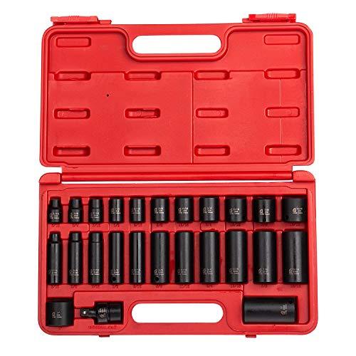 Sunex 3325, 3/8 Inch Drive Master Impact Socket Set, 25-Piece, SAE, 5/16