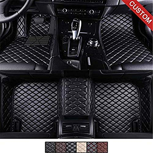 YANGcar Custom Car Floor Mats for Mercedes-Benz C Class W204 Sedan 2008-2013, Laser Measured Faux Leather All Weather Full Coverage Waterproof Carpets XPE Car Liner (Black with Black Stitching) ()