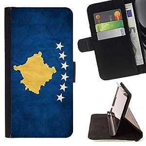 Momo Phone Case / Flip Funda de Cuero Case Cover - Nacional bandera de la nación País Kosovo; - Samsung Galaxy S6 Active G890A