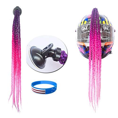 (HiMAG Helmet Hair Helmet Pigtails Gradient Ramp Helmet Braids Ponytail with Suction Cup for Motorcycle Bike 1PCS 19inch-Ombre Color (P001))