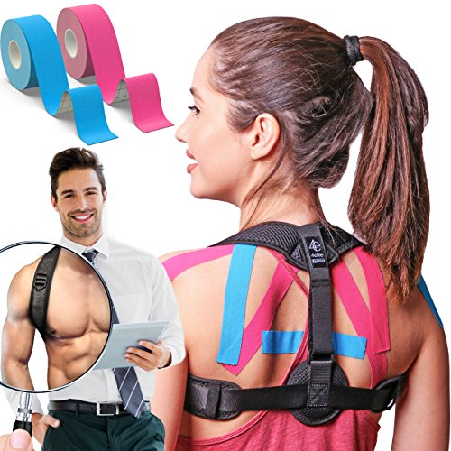 Posture Corrector for Women and Men | Front Adjustable Clavicle Brace | Back Brace for Posture Correction | Improve Bad Posture | Kinesiology Tape included by 4Elite by 4Elite
