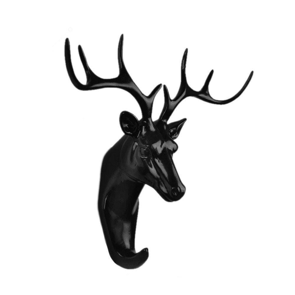 Faraway Resin Hanger Animal Head Modeling Creative Deer Head Animal Coat Hooks Decorative Wall Crafts (Black)
