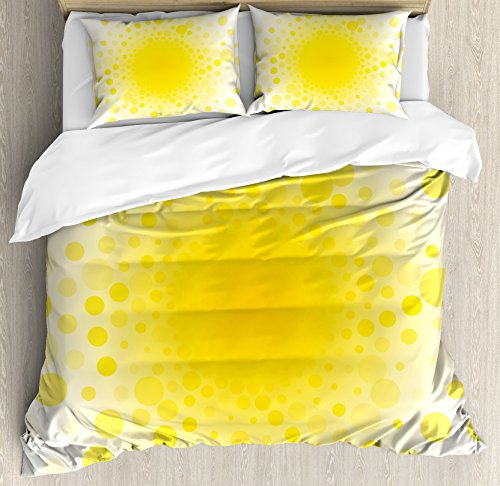 Sunspot Bedding (Yellow Duvet Cover Set King Size by Ambesonne, Abstract Small Circular Dots Patterns and Forms Centered Sun Spot Chic Decorative Art Home, Decorative 3 Piece Bedding Set with 2 Pillow Shams, Yellow)