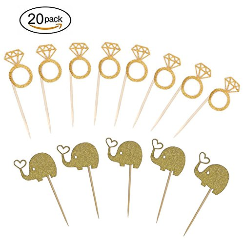 Kakasogo 10 PCS Diamond Ring +10Pcs Elephant Gold Glitter Cupcake Toppers Cake Picks for Wedding Bridal Marriage Engagement Anniversary Birthday Valentines Party Baby Shower Food Decoration (Pudding Ring)