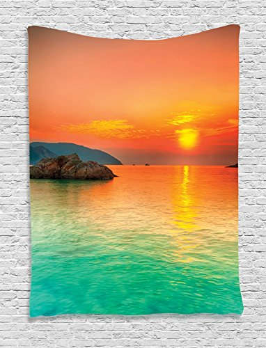 Ambesonne Nature Decor Collection, Sunset over the Sea Con Dao Vietnam Golden Sunlights Colorful Sky Reflection on Water Picture, Bedroom Living Room Dorm Wall Hanging Tapestry, Teal (Con Rod Set)