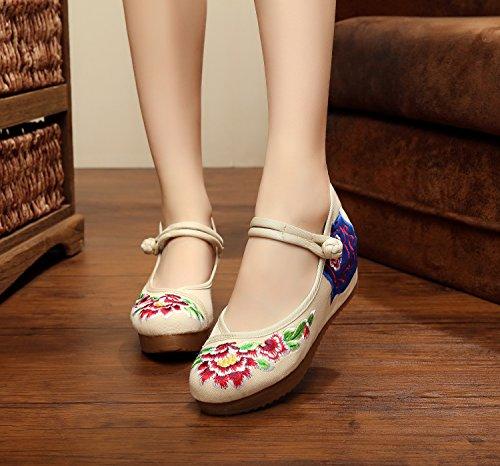 pattini tela biancheria ricamati comodi femminili unico stile centimetri 5 beige moda scarpe DESY di scarpe tendine etnico Odq5wxnE