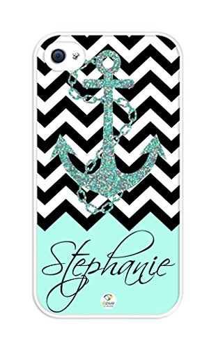 iZERCASE Personalized Black Turquoise and White Chevron Pattern with Anchor rubber iphone 4 case - Fits iphone 4 & iphone 4s T-Mobile, Verizon, AT&T, Sprint and International (White) (Turquoise Chevron Iphone 4 Case)