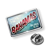 Pin Greetings from Bahamas, Vintage Postcard - Lapel Badge - NEONBLOND