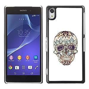MobileHut / Sony Xperia Z2 D6502 D6503 D6543 L50t L50u / Floral Crazy Skull Death Tattoo Ink / Delgado Negro Plástico caso cubierta Shell Armor Funda Case Cover