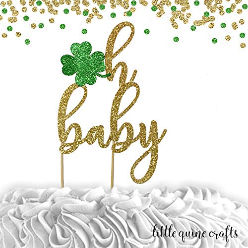 - 1 pc oh baby Shamrock St Patrick Theme Green Gold Glitter Cake Topper for baby shower Baby girl boy