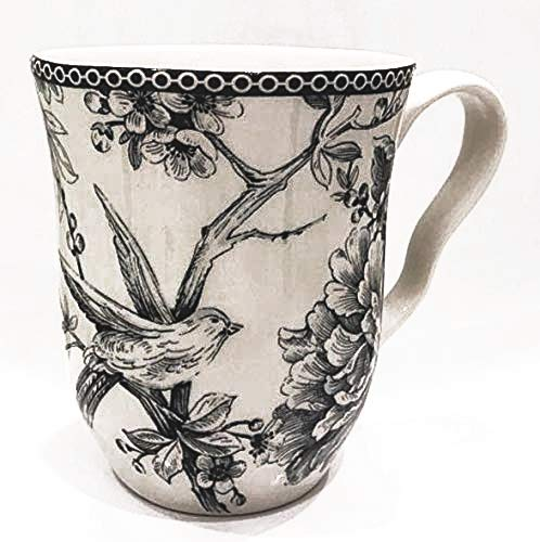 222 Fifth Adelaide Gray Toile Pattern Coffee Mugs | Set of 4 ()