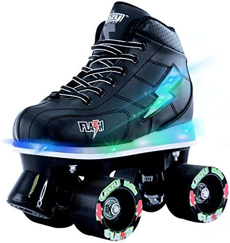 Crazy Skates Flash Roller Skates for Boys – Light Up Skates with Ultra Bright Lights and Flashing Lightning Bolt – Black Patines