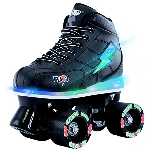 Crazy Skates Flash Roller Skates for Boys - Light Up Skates with Ultra Bright Lights and Flashing Lightning Bolt - Black Patines (Size 1) -