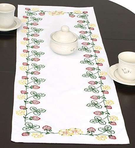 (Jack Dempsey Needle Art 560361 Strawberries Hand Embroidery White )