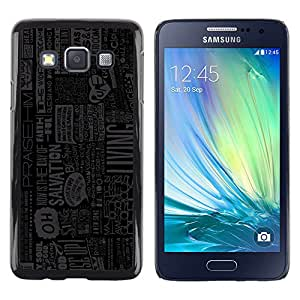 KOKO CASE / Samsung Galaxy A3 SM-A300 / acciones que viven periódico lema cita de la vida / Delgado Negro Plástico caso cubierta Shell Armor Funda Case Cover