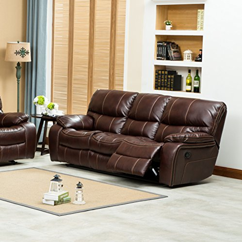 Roundhill Furniture Ewa Leather Air Reclining Sofa, Brown