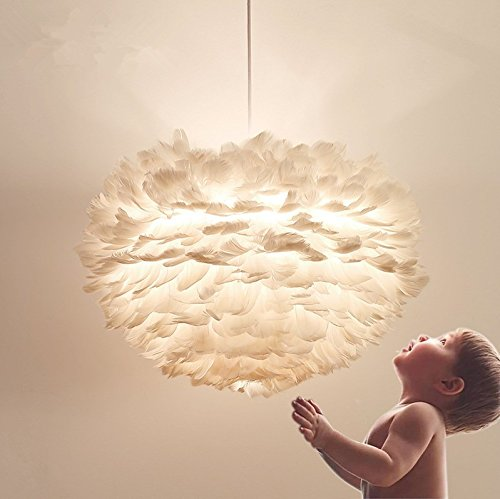 White Feather Ceiling Pendant Light Shade, Large Size 16 Inch Simple Luxury White Feather Ball E27 Lampshade Floor Lamp Decorative Droplight Shade for Living Room Bedroom by LOVFASHION (Image #3)