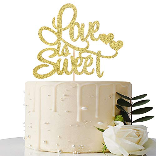 Gold Glitter Love is Sweet Cake Topper - for Wedding/Bridal Shower/Anniversary/Engagement/Wedding Anniversary Party ()
