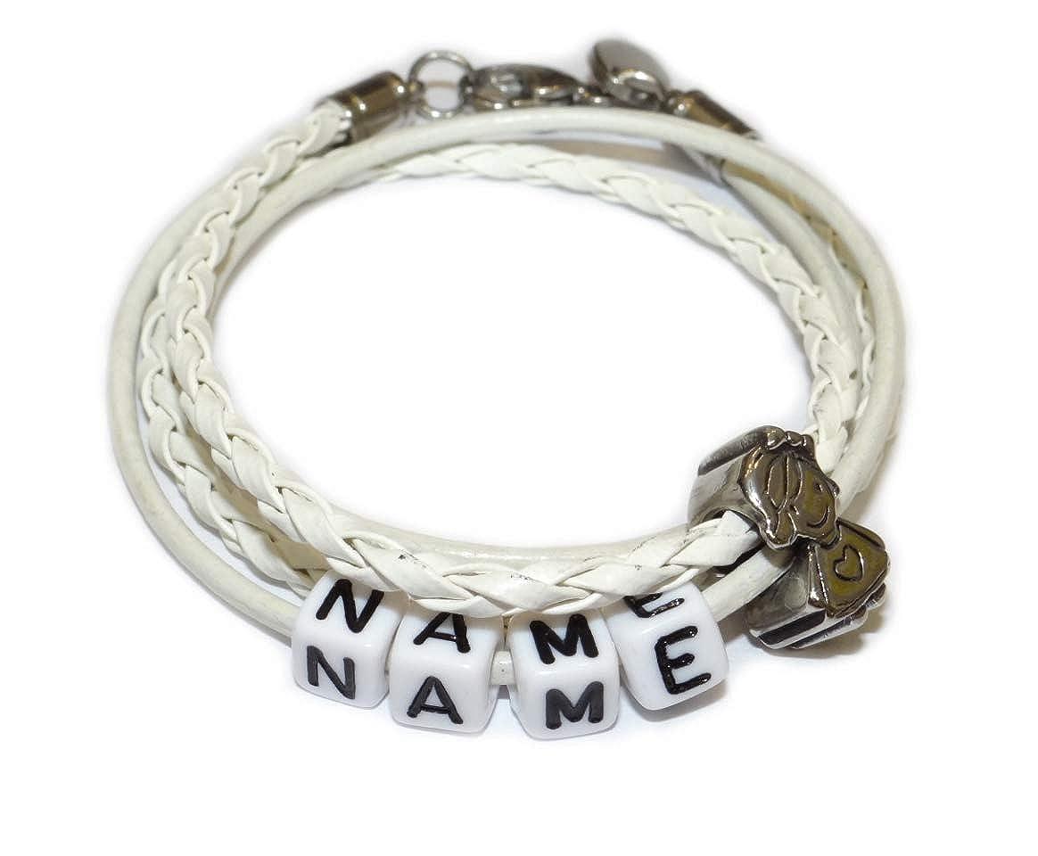 ARTemlos/® Handmade SOS Kinder-Armband mit Handynummer aus Edelstahl und Leder 011