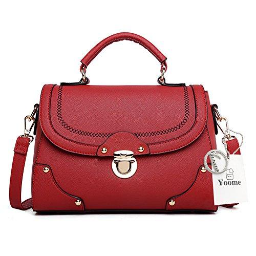 Yoome Top Handle Satchel Bags For Rivet Korean Girls Little Bags For Women Bags For Makeup - Burgundy Burgundy