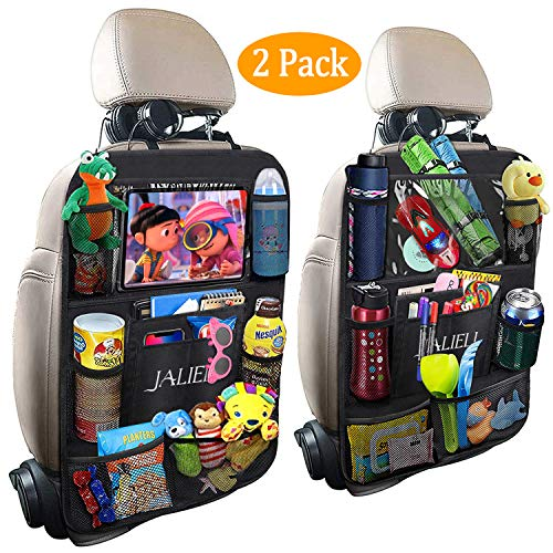 Back Seat Entertainment Organizer - JALIELL Car Back Seat Organizer for Kids Car Organizer Kick Mats with 10