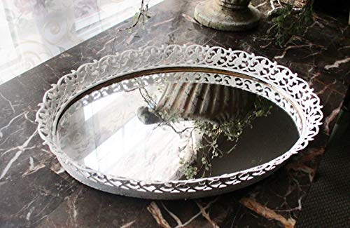 Heritage Tray Table - Mirrored Glass Vanity Tray, Mid-Century Vintage, UpCycled in Heritage White, Classic Filigree Design, Vanity table Set, Tabletop, Bath Decor, Bedroom Decor, Hand Painted, Personal Gifts, Collectilbles