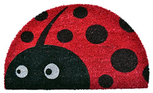 (Imports Décor Half Round Ladybug Vinyl Backed Coir Doormat, 30 by 18 by 1/2-Inch)