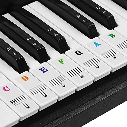 BUZIFU Piano Sticker Labels of Piano and Electronic Keyboards of 37/49/54/61/88 Keys, 52 Keys White and 36 Black, Transparent and Removable, Suitable for All Brands, Casio, Yamaha, Roland