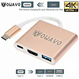 OWAVO USB-C-to-HDMI, LoHi 3-in-1 Digital Multiport Adapter, USB-C Quick Charging + HDMI Supports 4K 30HZ + USB 3.1 Port HDMI Converter MacBook/ChromeBook Pixel/USB-C Devices