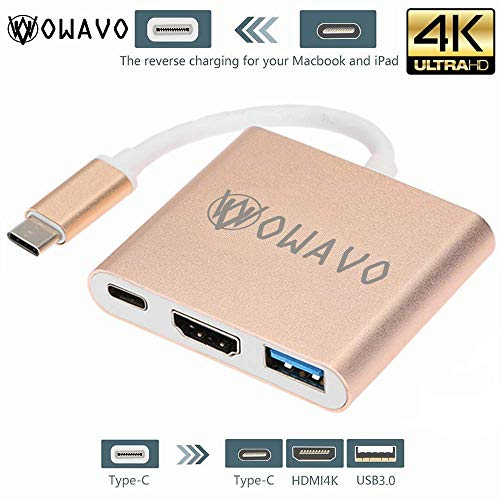 OWAVO USB-C-to-HDMI, LoHi 3-in-1 Digital Multiport Adapter, USB-C Quick Charging + HDMI Supports 4K 30HZ + USB 3.1 Port HDMI Converter MacBook/ChromeBook Pixel/USB-C Devices by OWAVO