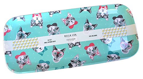Bella Lux Set of Two Melamine Outdoor Trays with Cats in Glasses and Bow-ties Print ()